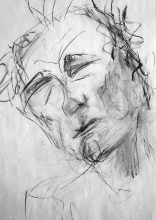 Charcoal drawing of a man. Drawing by Emily Gerbig
