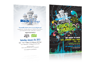 Emily Gerbig designed the branding, poster, and flyer/postcard design for the Royal Guards Rock The Palace Saint Paul Winter Carnival event